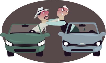 carro caricatura: Dos automovilistas enojados estrangulando entre sí, que se inclinan de sus coches, de la historieta del vector, no hay transparencias