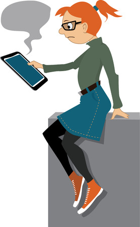 Upset girl looking at the tablet computer screen, empty text bubble on the top, vector illustration, no transparencies. Illustration