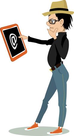 생각에 잠겨있는: Pensive cartoon boy in trendy clothes looking at the tablet computer, vector illustration, no transparencies, EPS 8