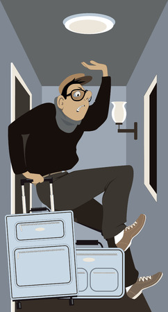 A traveler with luggage squeezed in a very small hotel room, vector cartoon, no transparencies.