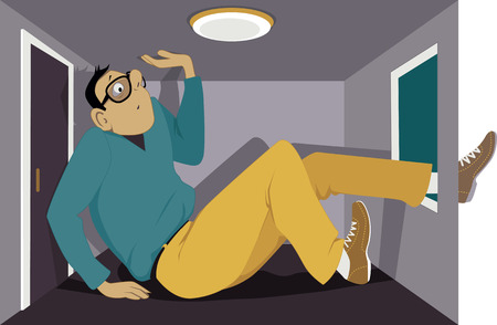 Cartoon man squeezed into a very small apartment, his leg is sticking out of the window, vector illustration, no transparencies.