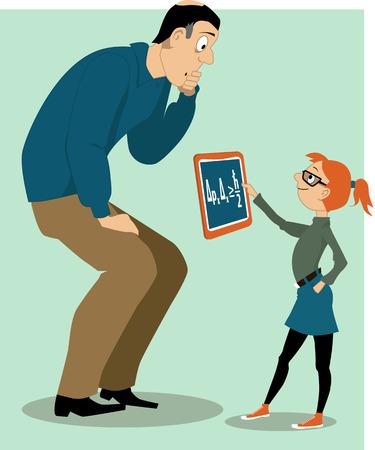 apa: Apa segít a lányát egy házi feladatot
