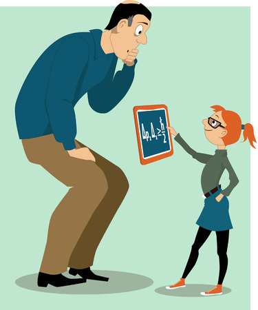 Father helping his daughter with a homework Illustration
