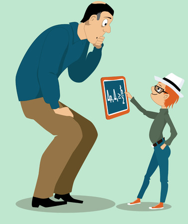 Little kid showing his confused father a physics formula on a tablet computer, vector illustration, no transparencies.