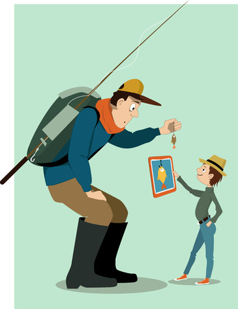urban fashion: Man in outdoors clothes, with a backpack and fishing rod, showing a small fish to a little boy. Boy, dressed in urban fashion showing him a tablet computer with a big fish drawn on he screen. Vector illustration, no transparencies.