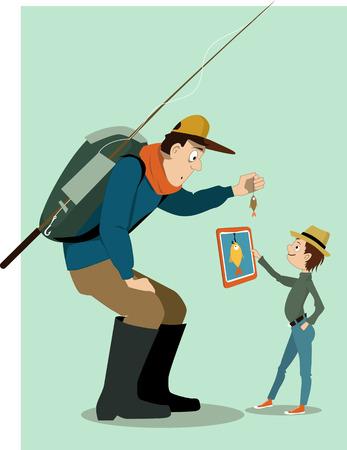 Mann im Freien Kleidung, mit einem Rucksack und Angelrute, zeigt einen kleinen Fisch zu einem kleinen Jungen. Boy, in städtischen Mode, die ihm einen Tablet-Computer mit einem großen Fisch auf er Bildschirm gezeichnet gekleidet. Vektor-Illustration, keine Transparentfolien. Standard-Bild - 39238990