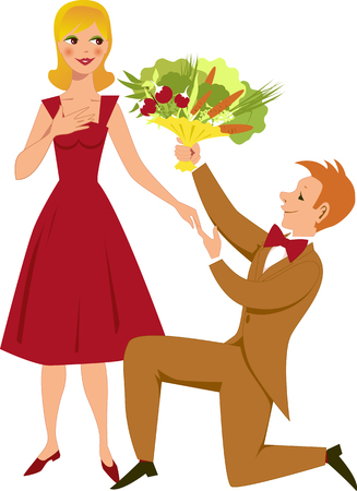 man kneeling: Young man kneeling and giving a young woman a bouquet of vegetables, vector cartoon, no transparencies. Illustration