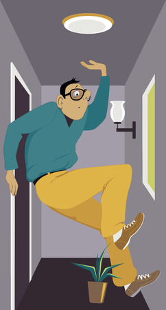 Man barely can fit into a very tiny apartment, almost stepping on a plant, vector illustration, no transparencies.