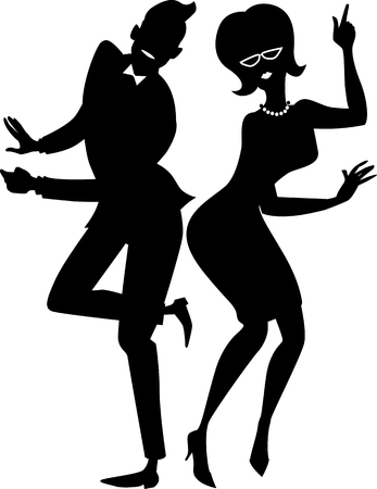 twist: Black vector silhouette of a young stylish couple dressed in late 1950s early 1960s fashion dancing the Twist  EPS 8 Illustration