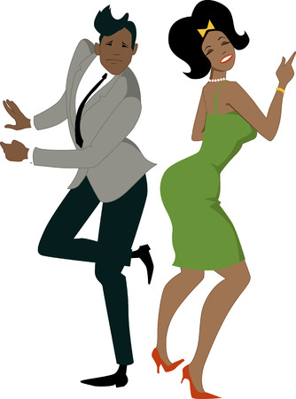 Young stylish black couple dressed in late 1950s early 1960s fashion dancing the Twist vector illustration no transparencies EPS 8