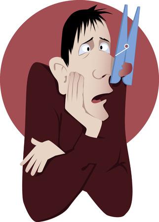 hombre: Congestión nasal. El hombre sufre de un resfriado común o las alergias con una pinza de ropa gigante en su nariz vector de la historieta sin transparencias EPS 8