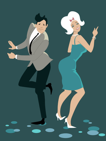 Young stylish couple dressed in late 1950s early 1960s fashion dancing the Twist vector illustration no transparencies EPS 8