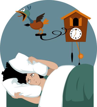 여자는 뻐꾸기 시계의 벡터 일러스트 레이 션을 더 투명의 EPS 8 머플없는 노력 베개에 머리를 파묻고 이른 아침에 그녀의 침대에 누워 강조 일러스트