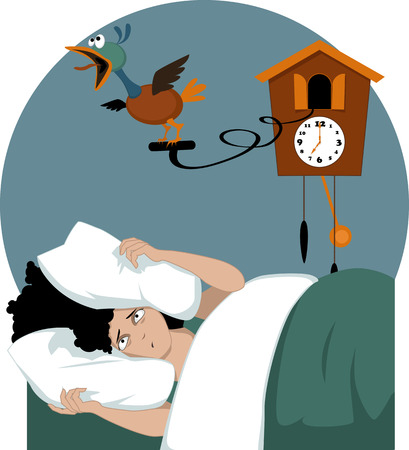 cuckoo clock: Tensionado mujer acostada en su cama por la ma�ana temprano enterrar la cabeza en la almohada tratando de ahogar una ilustraci�n vectorial reloj de cuco no transparencias EPS 8