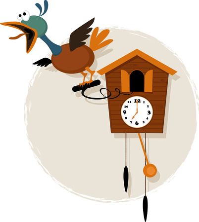 reloj cucu: Pájaro mecánico divertido que emerge de una antigüedad de dibujos animados vector de reloj de cuco llamativa sin transparencias EPS 8