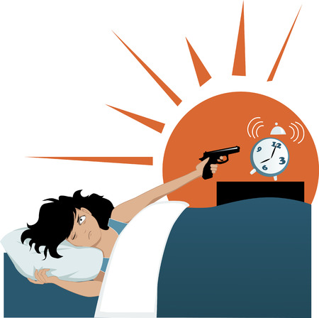 mujer con arma: No es una persona de la mañana Vectores