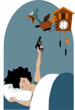 letti: Donna Grumpy con i capelli ricci che giace nel suo letto la mattina presto con un occhio chiuso e che punta una pistola a un uccello meccanico che emerge da una illustrazione vettoriale orologio a cucù non lucidi EPS 8