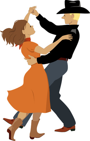 Couple dressed in Western country clothes dancing polka Çizim