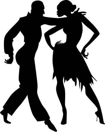 Black isolated vector silhouette of a couple dancing ballroom samba EPS 8 Stock Illustratie