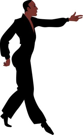 ispanico: Giovane ballo maschile ispanico Danzatore latino nella esecuzione di abiti illustrazione vettoriale EPS 8