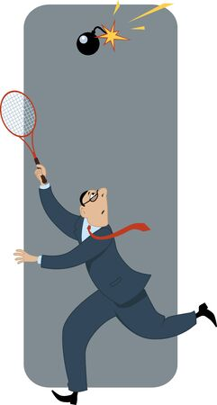 Businessman playing badminton with a bomb with burning fuse metaphor for risk in business vector illustration Vector