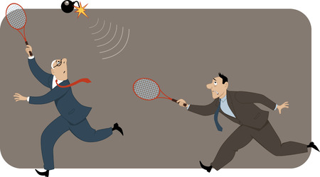 Two businessmen playing badminton with a bomb with flaming fuse vector illustration no transparencies EPS 8