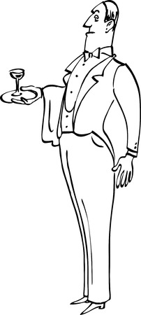 Snobbish English butler of a waiter with a glass on a tray vector illustration based on line art black only EPS 8
