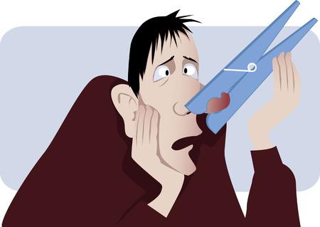 polyps: Man with a giant clothespin pinched on his nose as a metaphor for a stuffy nose vector illustration no transparencies  Illustration
