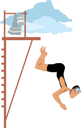Man dressed in an oldfashioned swimming suit jumping from the diving platform vector cartoon no transparencies