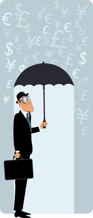 estereotipo: Hombre sonriente en un sombrero de bombín y con un maletín escondido bajo el paraguas de la lluvia de la moneda ilustración vectorial símbolos Vectores