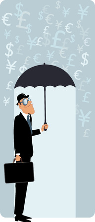 bowler hat: Smiling man in a bowler hat and with a briefcase hiding under umbrella from the rain of currency symbols vector illustration