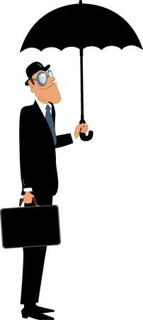 estereotipo: Hombre en un sombrero de bombín y traje de la celebración de un maletín de pie bajo un paraguas carácter vectorial aislados en blanco
