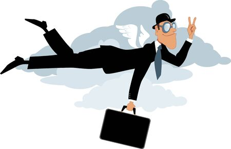 bowler hat: Businessman in bowler hat and with a briefcase flying in the sky flashing a victory sign vector illustration
