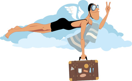 swim goggles: Smiling man dressed in an oldfashioned swimsuit and goggles flying in the sky carrying a suitcase with travel destination labels and flashing victory sign vector illustration