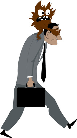 A demon representing fear or emotional pressure sitting on mans shoulders and preventing him from seeing where he is going vector illustration  Vector