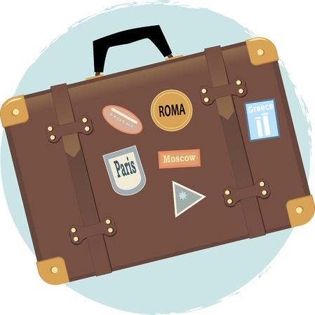 Vector illustration of a vintage suitcase with travel destination labels Illustration