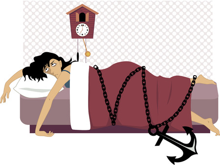 Tired woman lying in her bed early in the morning chained to a heavy anchor vector illustration