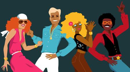 disco parties: Grupo de j�venes vestidos con la moda de 1970 bailando ilustraci�n vectorial discoteca sin transparencias EPS 8 Vectores