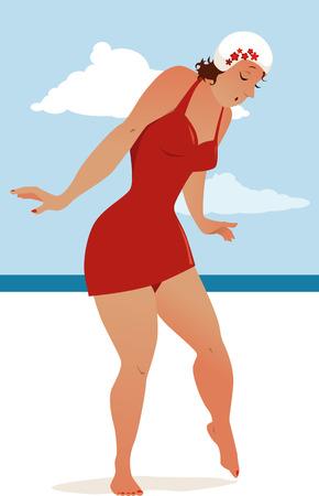 voluptuous: Mujer voluptuosa en un traje de ba�o pasado de moda andar con cuidado en una arena caliente en la playa Ilustraci�n vectorial no transparencias EPS 8