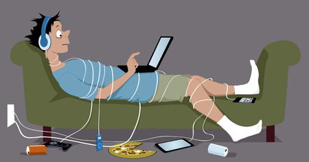 man with laptop: Young guy addicted to internet lying on a couch tangled up in cables from his many gadgets a laptop sitting on his stomach pizza and empty soda cans lying on the floor vector illustration no transparencies EPS 8