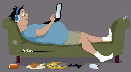 Overweight teenager lying on a dirty torn couch with a laptop sitting on his stomach junk food lying on the floor vector illustration no transparencies EPS 8 Иллюстрация