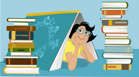 Smiling woman in glasses peeking from under a giant book piles of different books beside her vector illustration no transparencies EPS 8