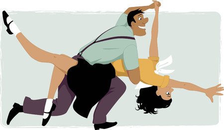 dancing club: Young couple dressed in 1950s fashion dancing swing or rock and roll vector illustration no transparencies EPS 8