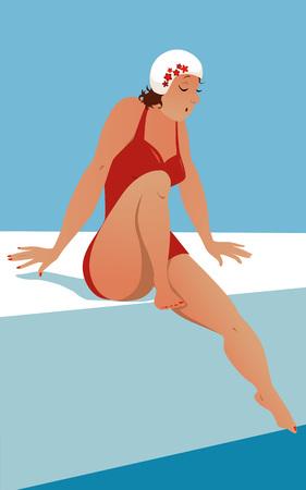voluptuosa: Mujer voluptuosa en un traje de baño rojo de época y un gorro de baño sentado en un lado del tirón y con cuidado sumergir su dedo del pie en la ilustración vectorial agua no transparencias EPS 8 Vectores