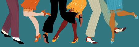 danza: Línea de hombres y mujeres piernas en 1920 calzado estilo bailando la ilustración vectorial Charleston sin transparencias EPS 8 Vectores