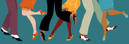 Line of men and women legs in 1920s style footwear dancing the Charleston vector illustration no transparencies EPS 8 Illustration