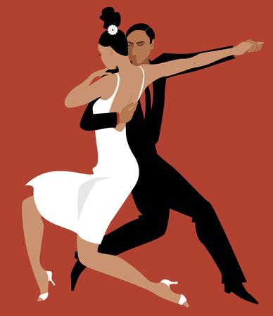 Sexy Hispanic couple dancing Argentine tango vector illustration no transparencies EPS 8