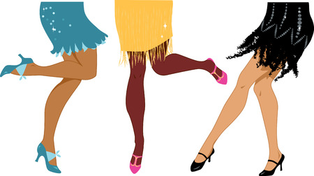 pies bailando: Línea de mujeres que llevan años 1920 calzado estilo y ropa bailando la ilustración vectorial Charleston sin transparencias EPS 8