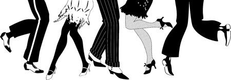 taniec: Linia mężczyzn i kobiet nogi w 1920 roku w stylu obuwia taniec Charleston czarna sylwetka wektor ma białe przedmioty EPS 8