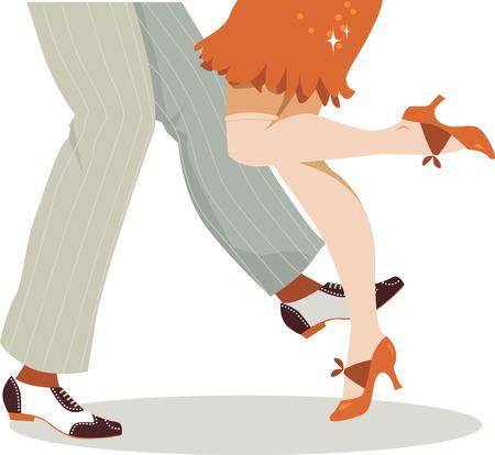 pareja bailando: Piernas de pareja vestidos con ropa de 1920 bailando el charlestón no transparencias EPS 8 Vectores